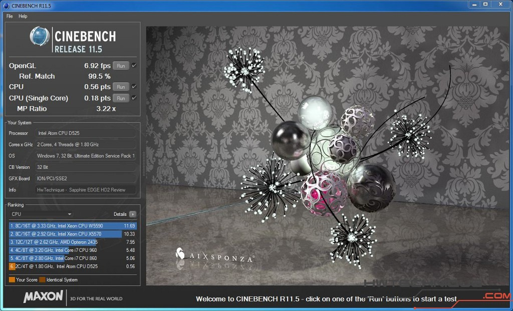 Edge HD2 Cinebench Multicore