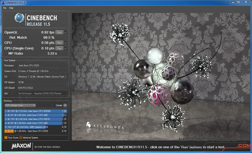 Edge HD2 Cinebench Single Core